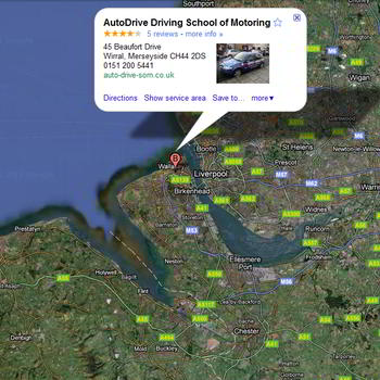Wirral driving school google map